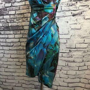 Suzi Chin for Maggy Boutique Dresses - Suzi Chin Silk Teal Colorful Sexy Sheath Dress